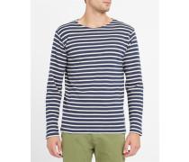 Klassisches Matrosen-T-Shirt 2297, blau meliert und ecru