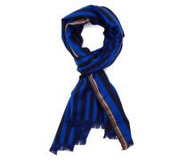 Blauer Baumwoll-Seidenschal Multistripes