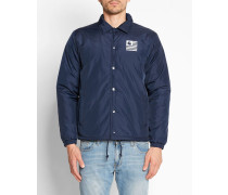 Marineblaue Coach Jacket mit State Pile-Aufdruck