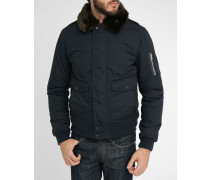 Marineblaue Flight Jacket aus Nylon mit Pelzkragen