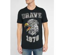 Schwarzes T-Shirt mit Rundhalsausschnitt und Adler-Print Joe-B