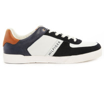 Maddox White/Navy Leather and Suede Sneakers