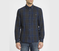 Blau-grau kariertes Hemd mit Button-Down-Kragen