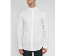 Weißes Hemd Cofi mit Offizierskragen, bedruckt mit Farbschattierungen in Tarnoptik