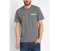 Grau gebürstetes T-Shirt mit Rundhalsausschnitt und Brustaufdruck College