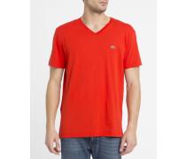 Rotes T-Shirt mit V-Ausschnitt und -Logo Pr
