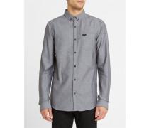 Anliegendes Hemd mit Button-Down-Kragen aus Baumwolle Herringbone Henning City in Grau