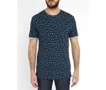 Blaues T-Shirt mit Rundhalsausschnitt und All-Over-Motiv Oxley