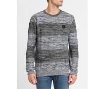 Pullover mit Rundhalsausschnitt Vari Block mit Streifen in Dunkelgrau und Schwarz