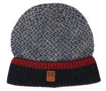 Zick-Zack-Mütze aus grauer Wolle