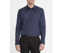 Marineblaues Slim-Hemd mit kleinem Kragen aus Baumwoll-Stretchpopeline