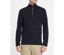 Marineblauer Pullover mit Troyer-Ausschnitt aus Wolle und Kaschmir