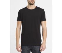 Schwarzes T-Shirt 1002 mit Rundhalsausschnitt und Brusttasche