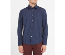 Marineblaues Popeline-Hemd mit Print