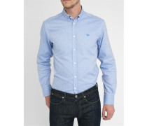 Sky-Blue Oxford Fox Embroidered Shirt