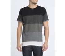 Schwarzes T-Shirt mit Rundhalsausschnitt, abgestuftem Farbeffekt und Brusttasche