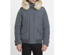 Bomberjacke mit abnehmbarer Kapuze mit Fell Polar Jacket in Grau