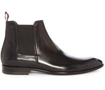 Chelsea Boots aus Glattleder, Textured, Schwarz
