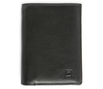 Portemonnaie aus schwarzem Leder mit Reißverschluss-Tasche und 8 Fächern Touraine
