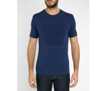 Blaues T-Shirt mit Rundhalsausschnitt und Armani-Aufdruck