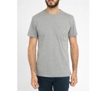Graues Trikolore-T-Shirt mit Aufnäher Fox