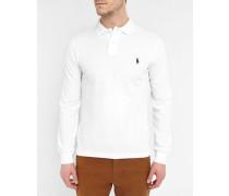 Weißes, langärmliges Polo mit Slim Fit