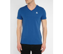 T-Shirt mit V-Ausschnitt Trikolore Stripes in Königsblau