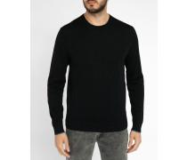 Schwarzer Pullover mit Rundhalsausschnitt aus Merinowolle