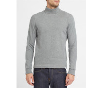 Graues Sweatshirt mit Rollkragen aus Baumwolle Bue Brushed