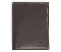Portemonnaie aus braunem Leder mit Reißverschluss-Tasche und 8 Fächern Touraine