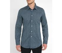 Popeline-Hemd Tailored mit Dots in Marineblau
