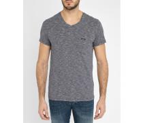 Marineblaues gestreiftes T-Shirt mit Rundhalsausschnitt Pocket V-Ausschnitt