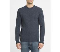 Pullover mit Rundhalsausschnitt Kane aus marineblauer gepunkteter Wolle