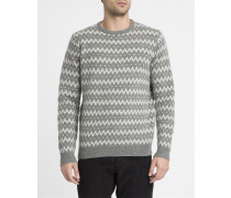 Grauer Jacquard-Wollpullover