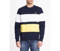 Sweatshirt Gestreift Neopreneffekt Logo Brust Multico