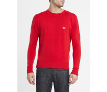 Roter Schurwolle-Pullover