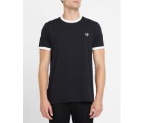 Schwarzes T-Shirt mit aufgesticktem Logo