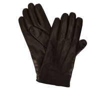 Schwarze Handschuhe aus Glattleder mit Armani-Logo und Innenseite aus Wolle