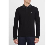 Schwarzes Poloshirt ML aus Baumwoll-Piqué mit Jeanskragen