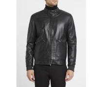 Schwarze Lederjacke, Biker-Kragen mit Druckknöpfen, Reißverschlusstaschen