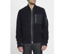 Marineblaue Jacke aus Walkwolle