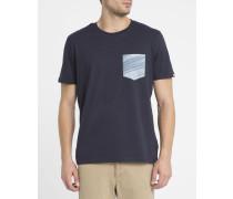 Blaues T-Shirt Sunny mit Brusttasche