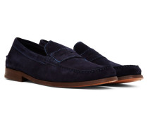 Augusta Suede Penny Loafer Navy