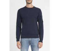 Marineblaues Rundhals-Sweatshirt mit Linse an der Schulter