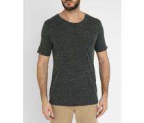 Graues T-Shirt mit Rundhalsausschnitt und Tasche aus Wollgemisch