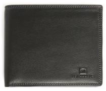 Portemonnaie aus schwarzem Leder mit Umschlag und 8 Fächern Touraine