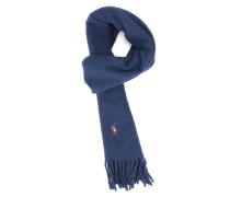 Bunter Fransenschal aus Wolle in Blau Cavalier