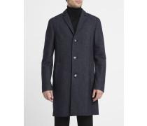 Blau melierter Mantel aus Kaschmirwolle