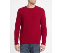 Roter Pullover Edris Reiskornmuster Shetland