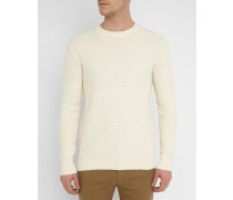 Weißer Pullover mit Rundhalsausschnitt aus durchbrochenem Strick mit Sweatshirt-Kragen Ken